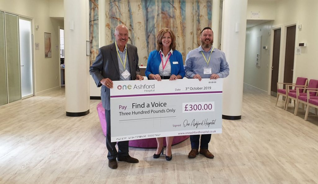 One Ashford Hospital raises money for local charity, Find a Voice